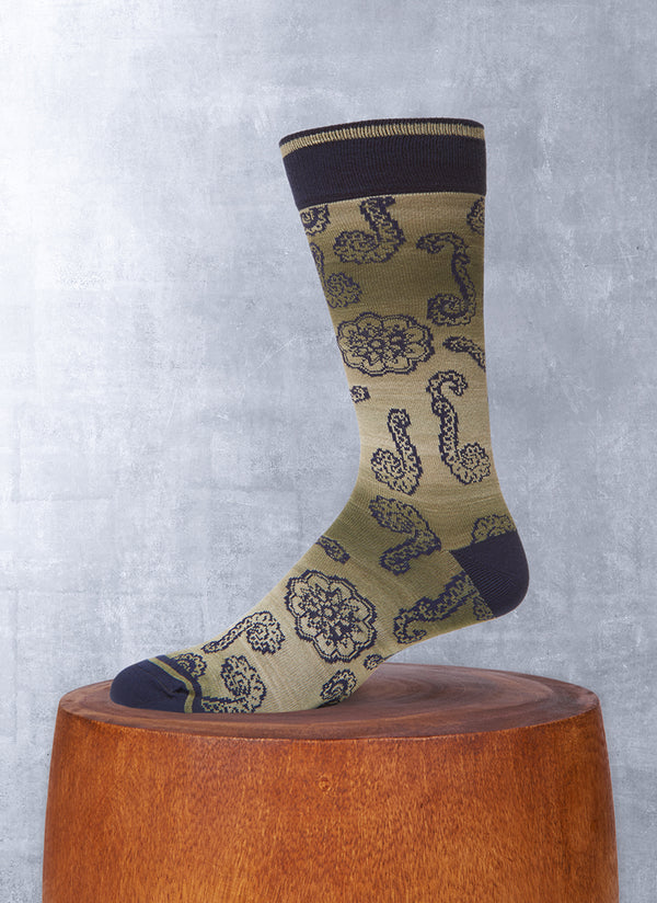 Space Dyed Large Paisley Sock in Green