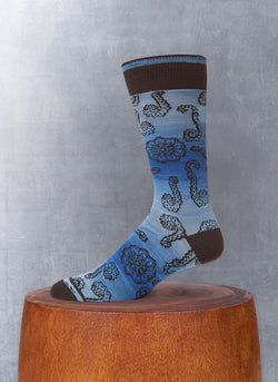 Space Dyed Large Paisley Sock in Blue