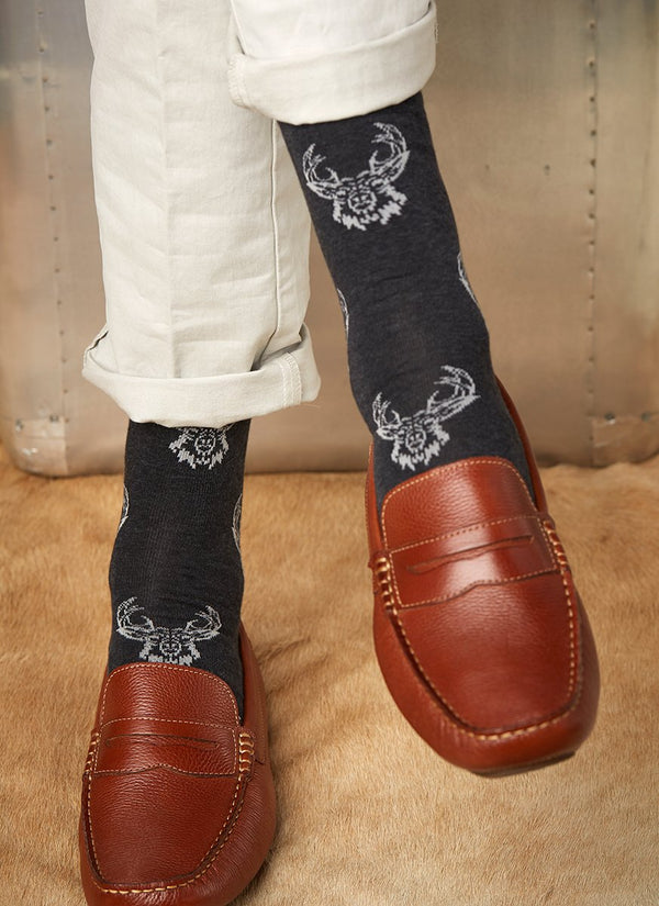 Tattoo Deer Sock in Cotton Charcoal