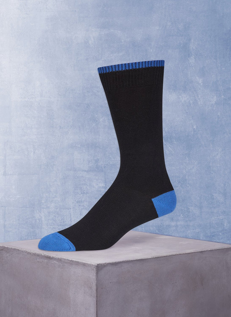 Solid Cotton in Black Sock and Periwinkle