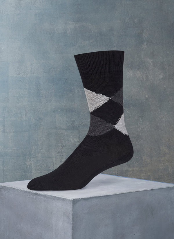 Argyle Sock in Black and Charcoal