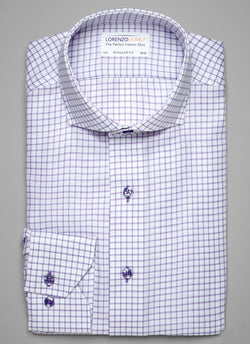 Maxwell in Purple Windowpane Shirt