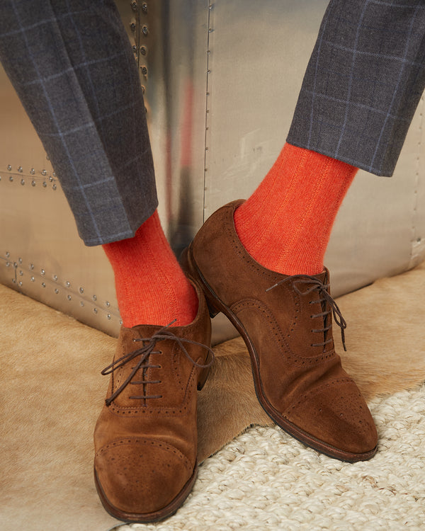 Cashmere Rib Sock  in Garnet Orange
