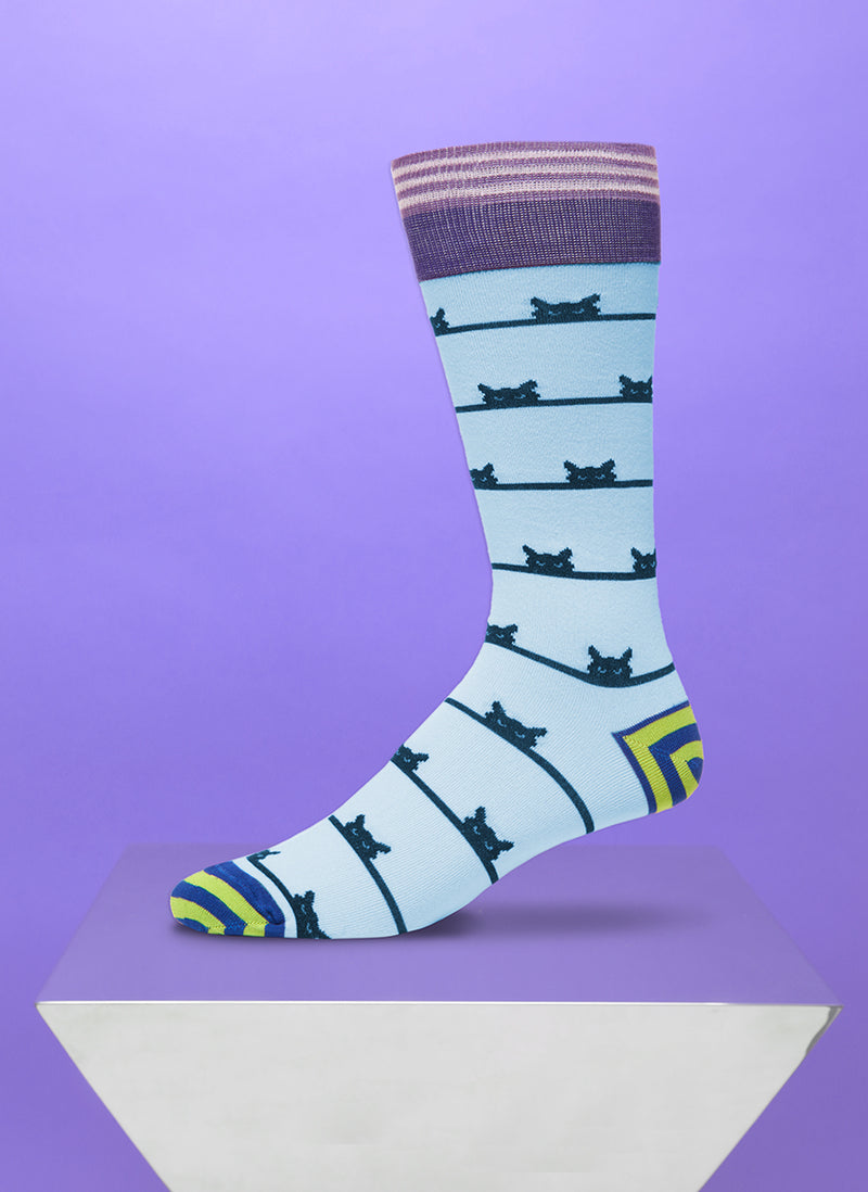 """Peeping Tom"" Sock in Blue"
