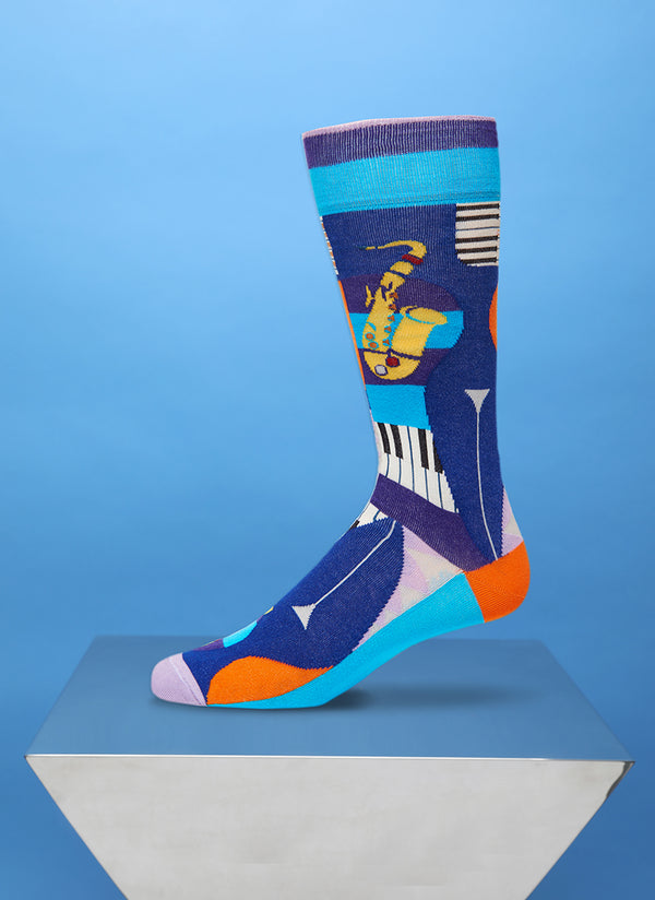 """Bourbon Street"" Sock in Grey/Navy"