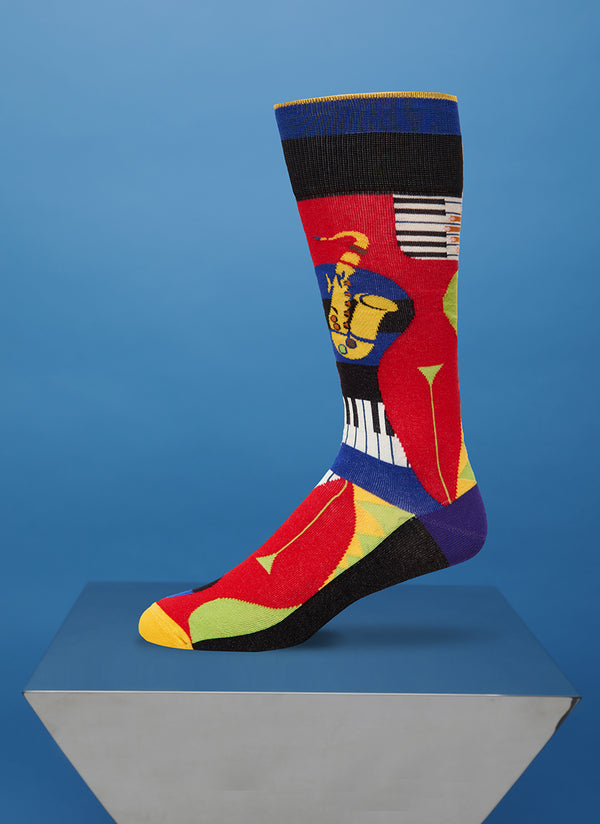"""Bourbon Street"" Sock in Black/Blue"