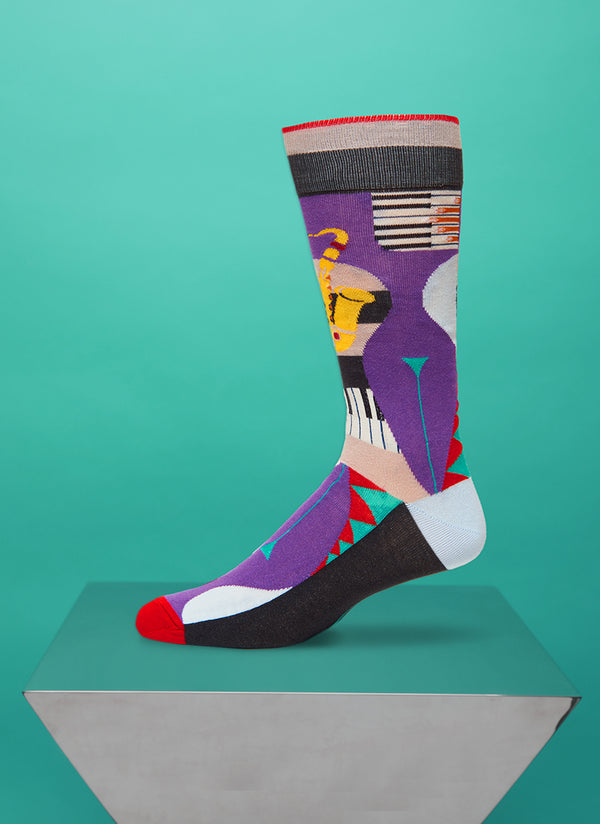 """Bourbon Street"" Sock in Navy/Fuchsia"