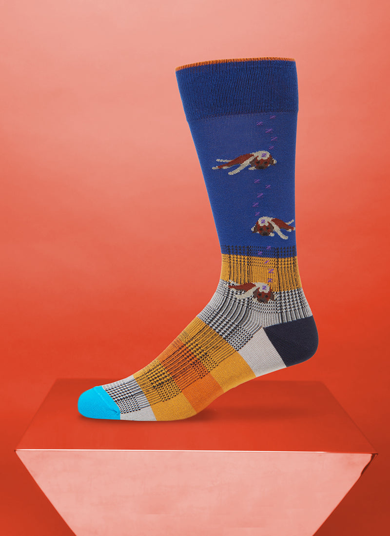 """Let Sleeping Dogs Lie"" Sock in Blue"