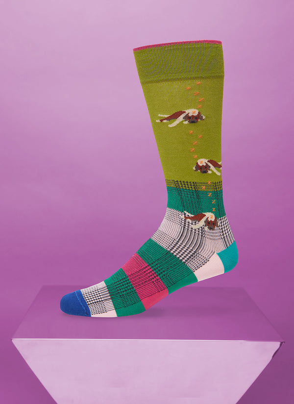 """Let Sleeping Dogs Lie"" Sock in Green"