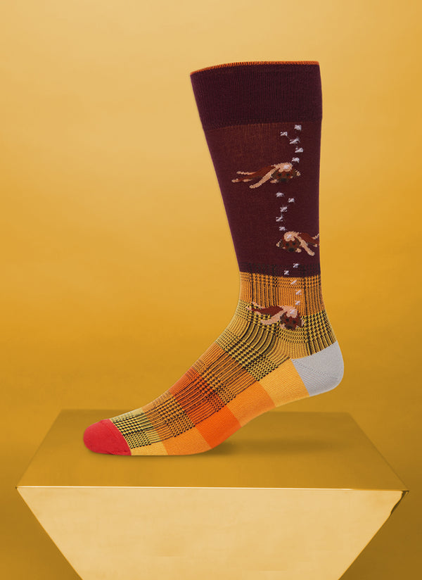 """Let Sleeping Dogs Lie"" Sock in Burgundy"