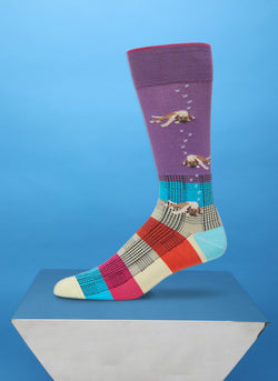 """Sleeping Dog Lie"" Sock in Lavender"