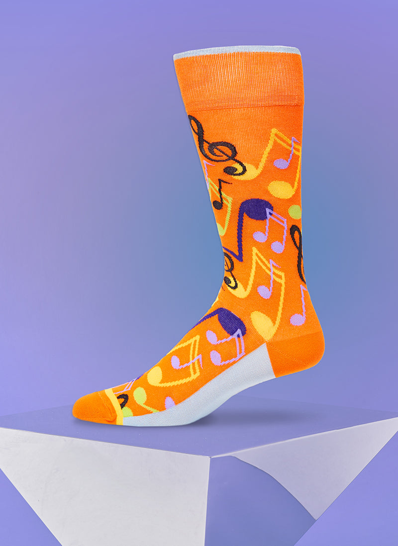 """Music To My Ears"" Sock in Orange"