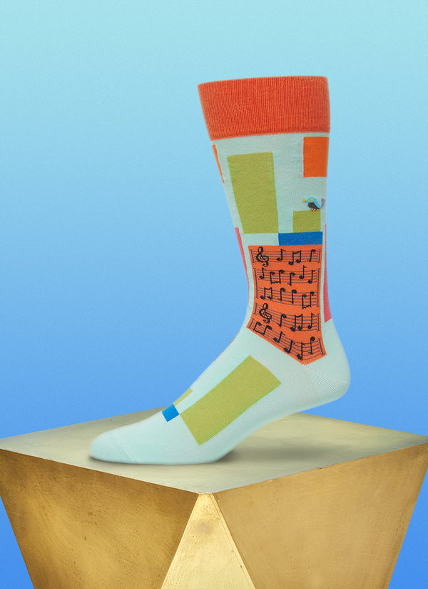 """Supersonic Symphony"" Sock in Orange"