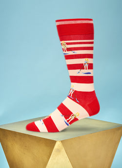 """Where's My Speedboat"" Sock in Red"