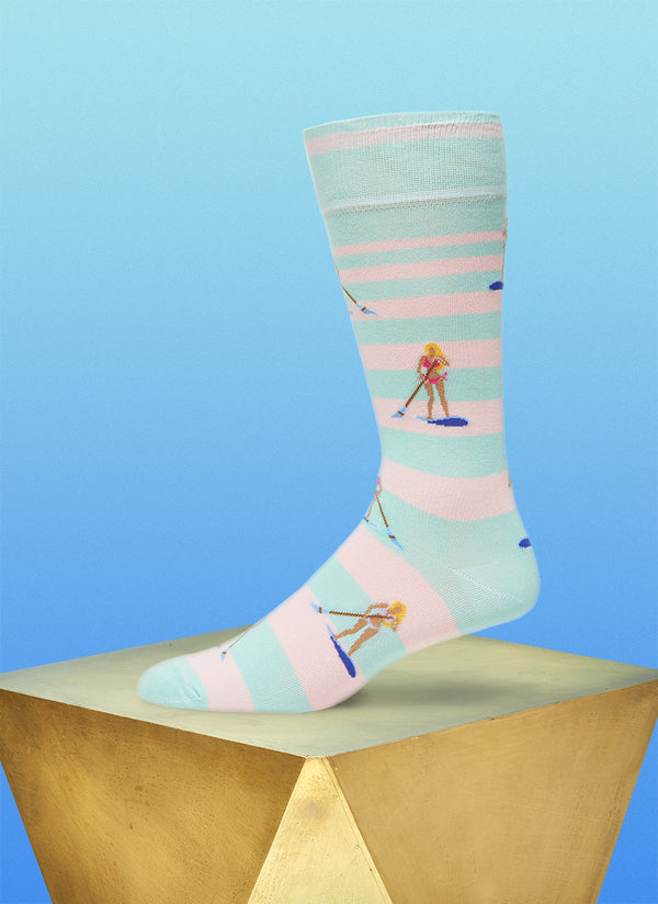 """Where's My Speedboat"" Sock in Teal"
