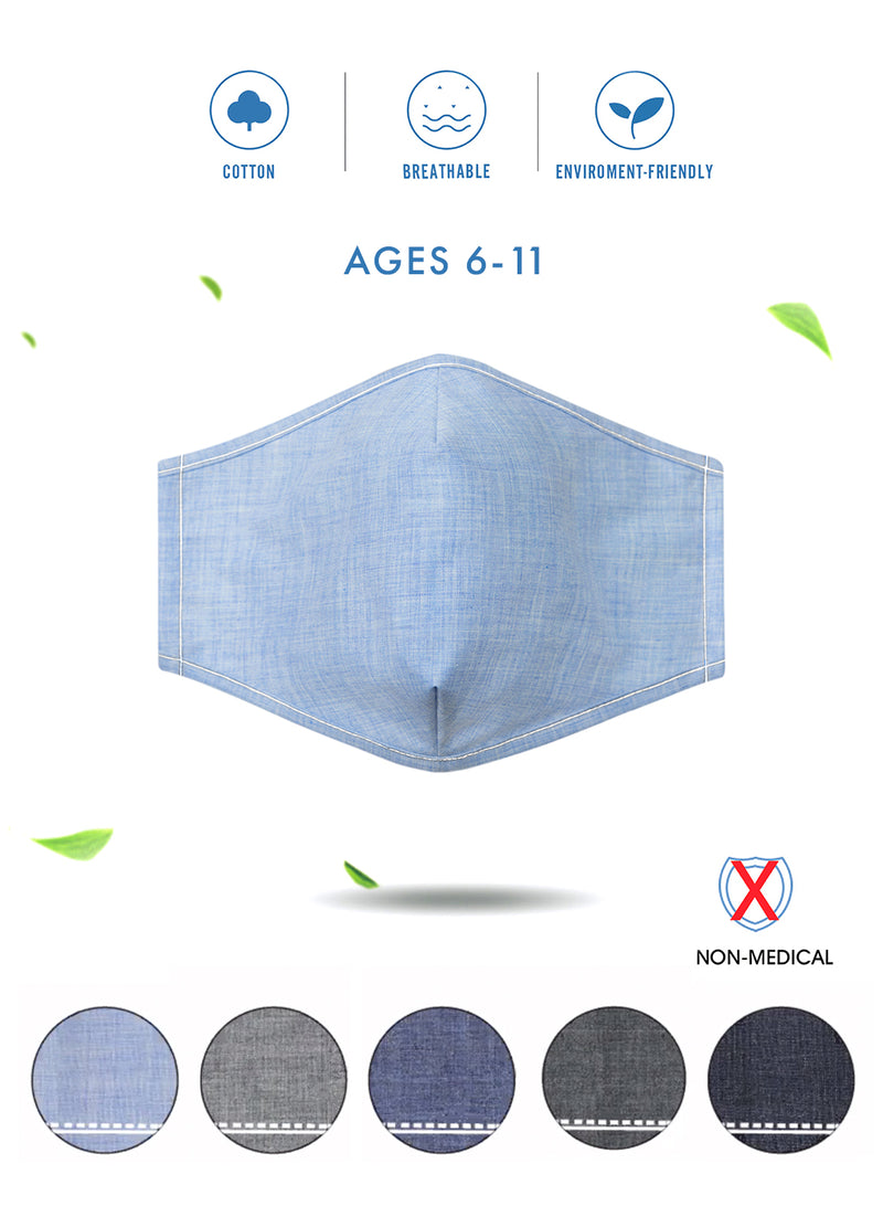 Back to School Denim Face Masks (Assorted Pack of 5)-Small