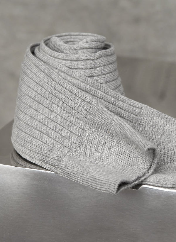Short Ribbed Egyptian Cotton Sock in Grey