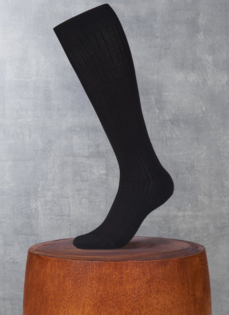 Ribbed Egyptian Cotton Long Sock in Black