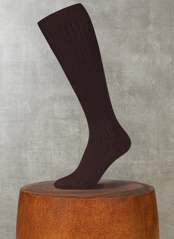 Ribbed Egyptian Cotton Long Sock in Brown