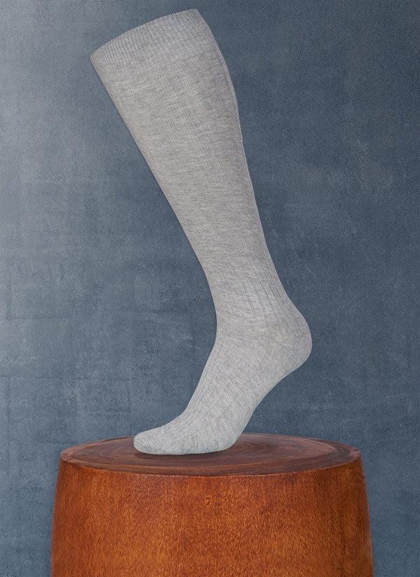 Ribbed Egyptian Cotton Long Sock in Grey