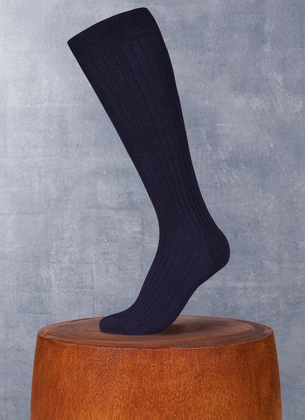 Merino Wool/Silk Long Sock in Navy