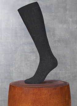 Ribbed Egyptian Cotton Long Sock in Charcoal
