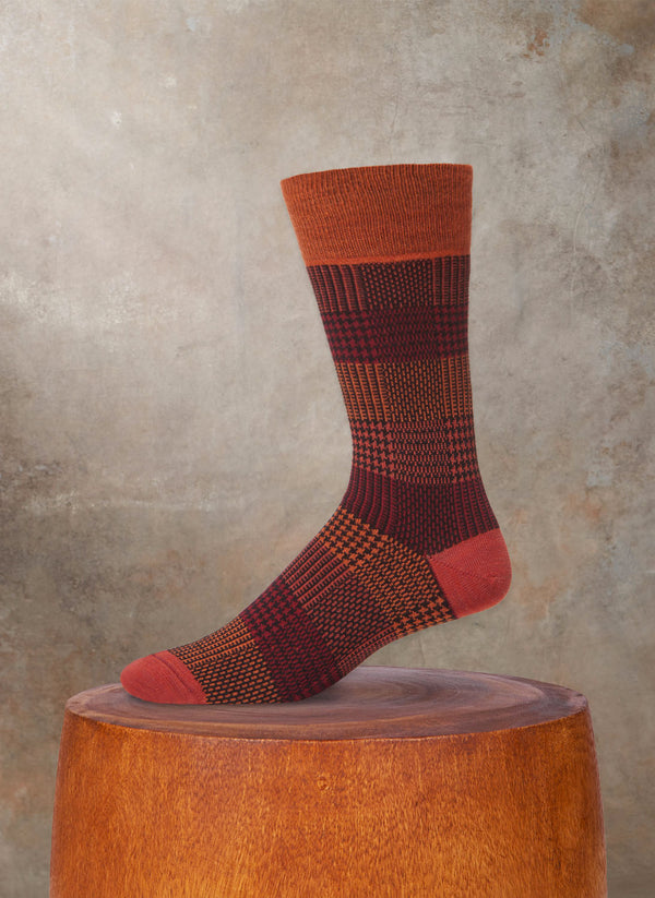 Plaid Wool Sock in Orange