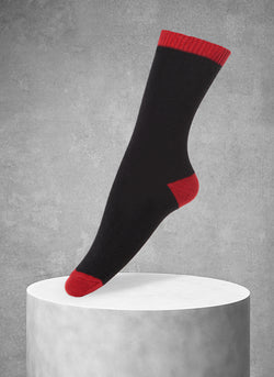 Women's Cashmere Heel/Toe Crew in Black and Red Sock