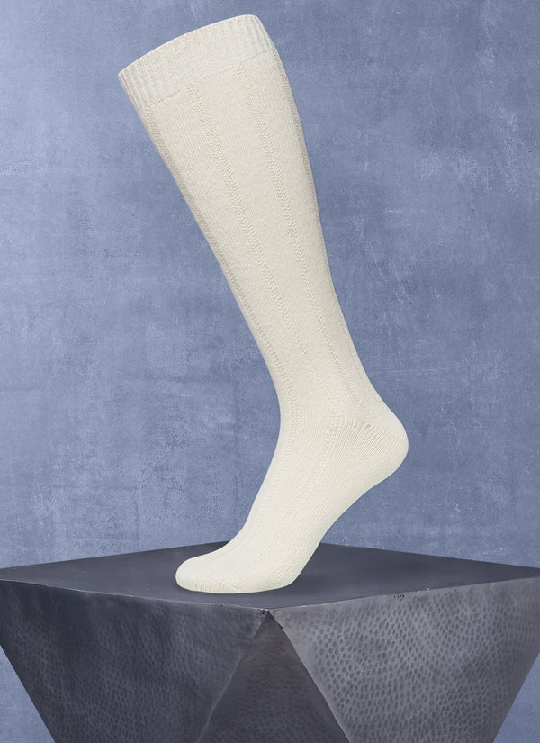 Cashmere Long Sock in Cream