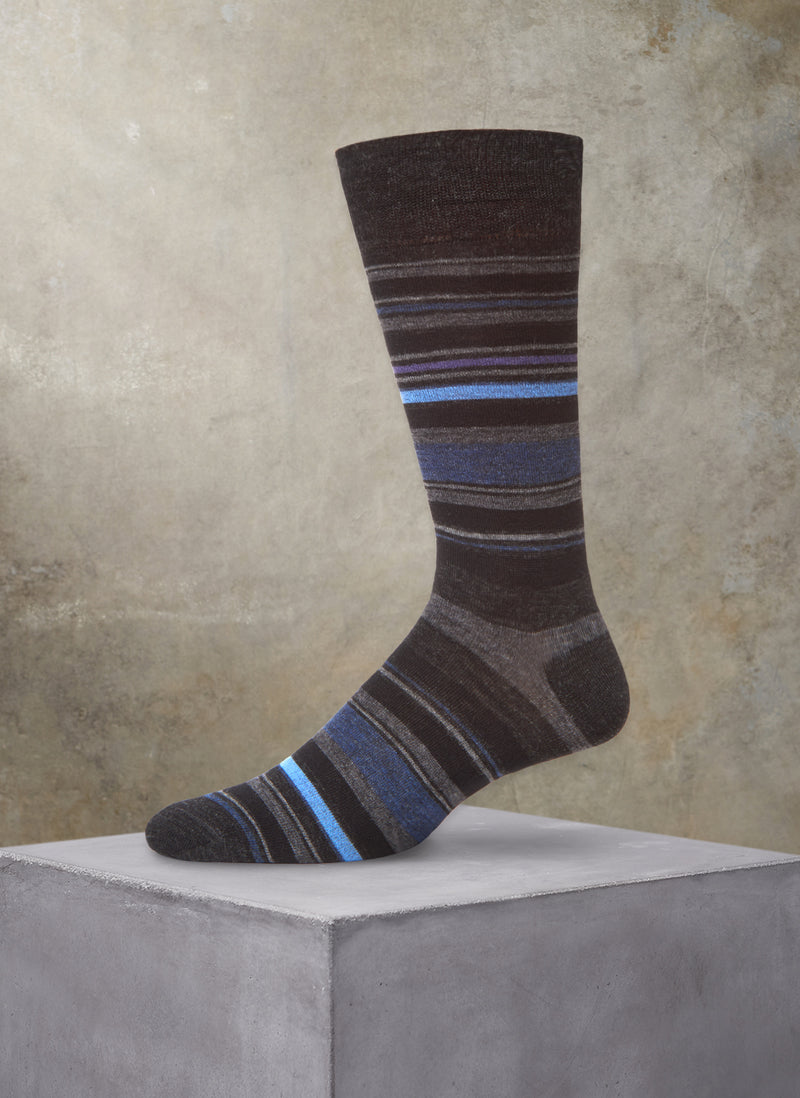 Merino Wool Stripe Sock in Charcoal