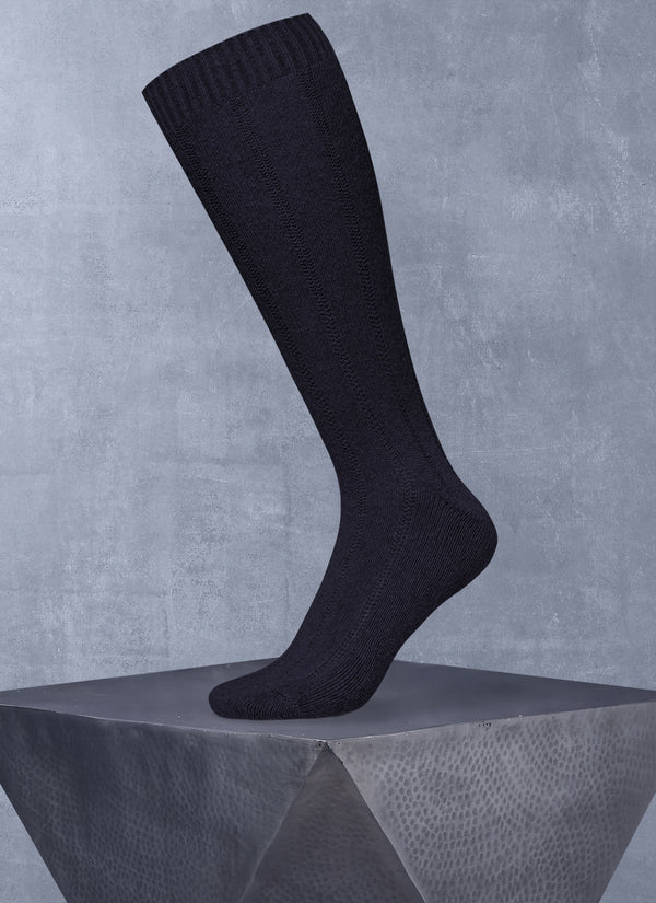 100% Cashmere Long Sock in Navy