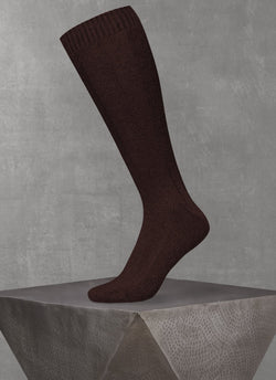Cashmere Long Sock in Brown