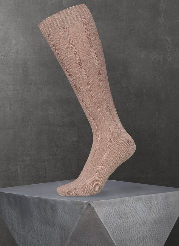 Cashmere Long Sock in Heather Charcoal Taupe
