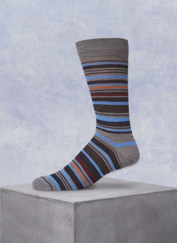 Multi Stripe Sock in Grey