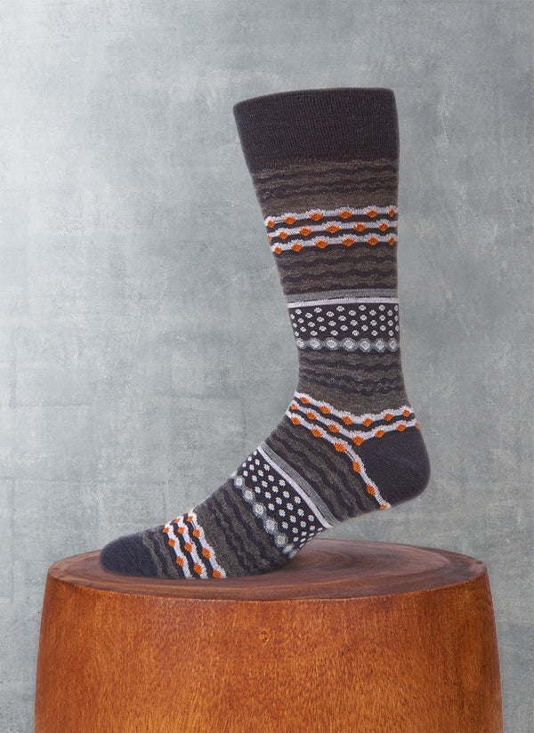 Dot and Wave Sock in Navy