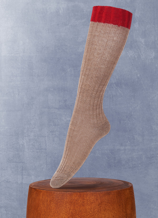 Women's Luxury Knee High Sock in Taupe and Red
