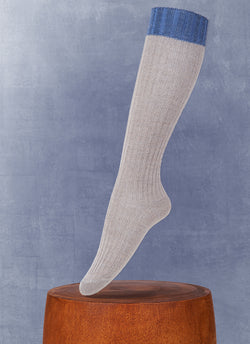 Women's Luxury Knee High Sock in Grey and Denim