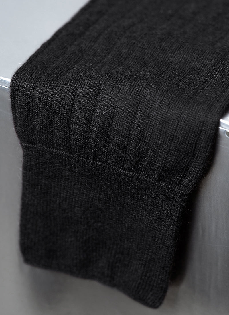 100% Cashmere Crew Sock in Black