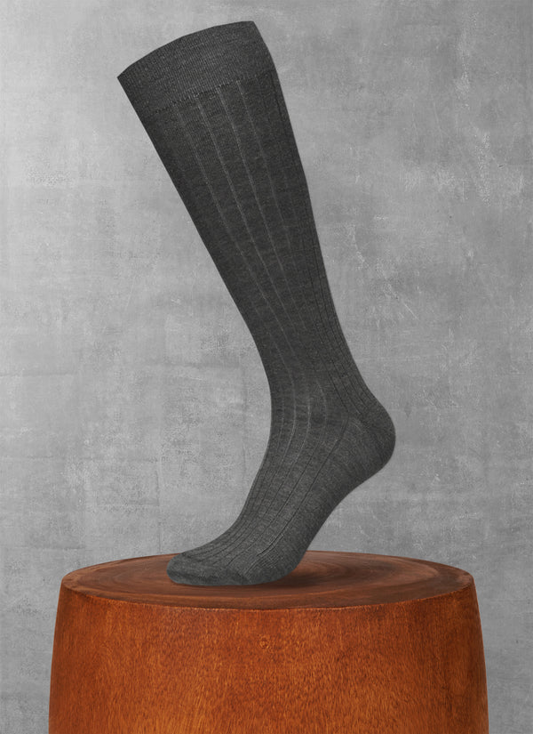 100% Cashmere Long Sock in Charcoal