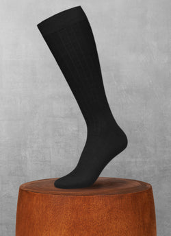 100% Cashmere Long Sock in Black