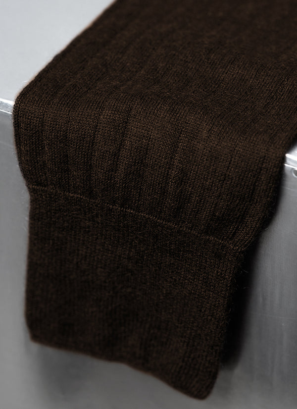 100% Cashmere Long Sock in Dark Brown