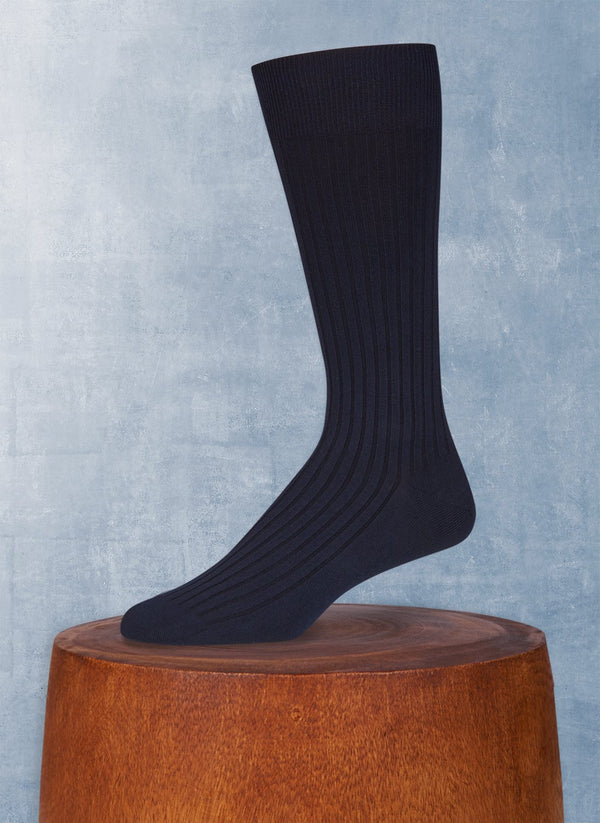 Short Ribbed Egyptian Cotton Sock in Navy