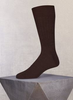 Short Ribbed Egyptian Cotton Sock in Brown