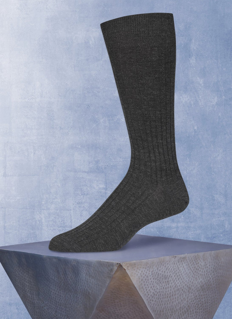 Short Ribbed Egyptian Cotton Sock in Charcoal