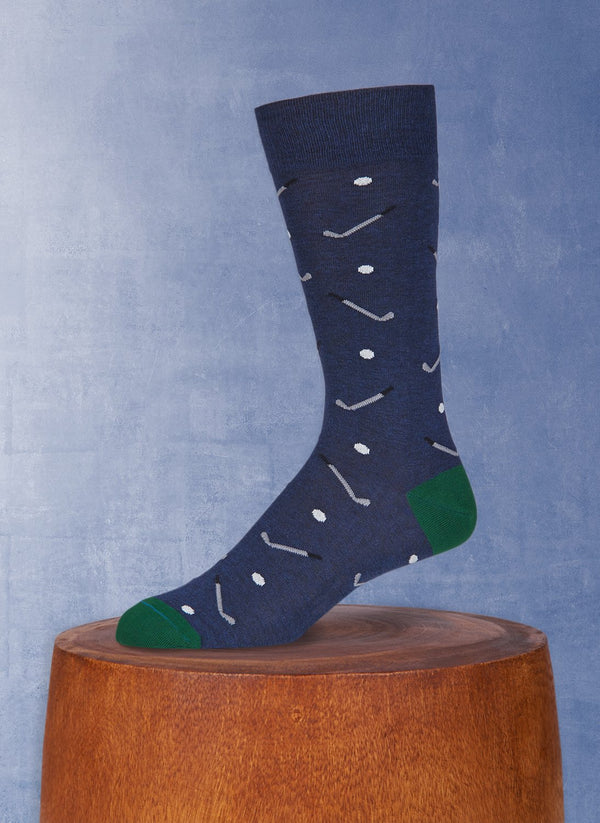 Gold Clubs and Balls Sock in Navy