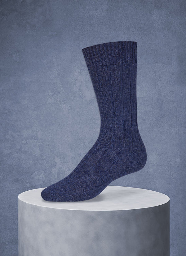 75% Cashmere Rib Sock in Indigo