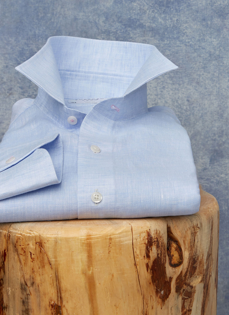 Alexander in Blue Linen Shirt