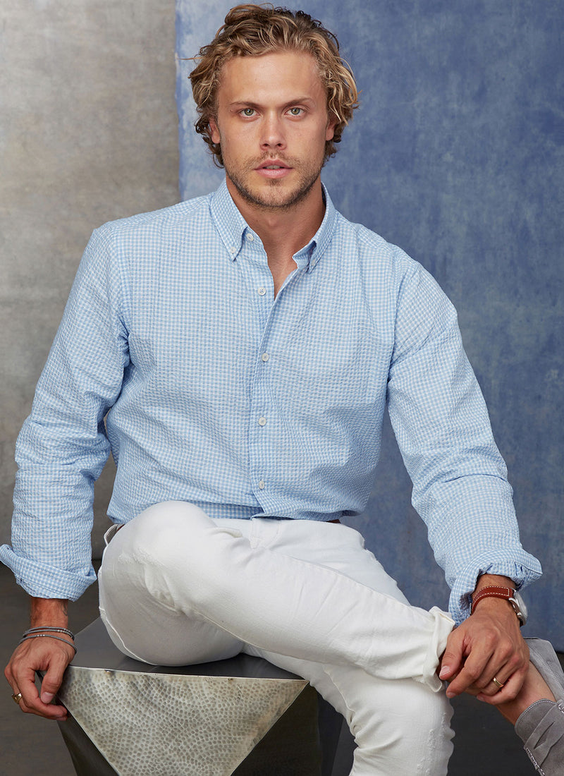 Alexander in Blue Seersucker Shirt