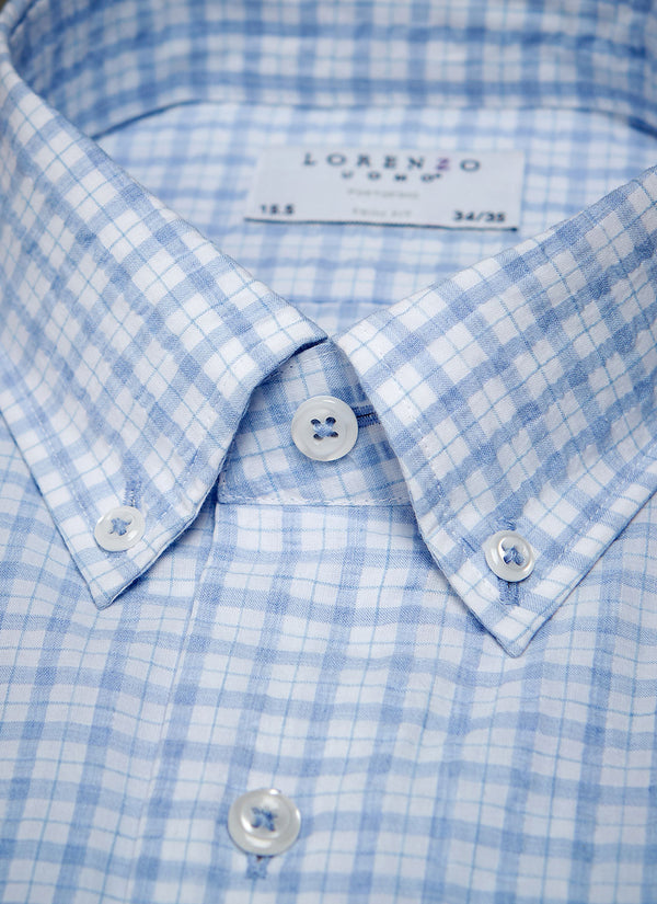 Alexander in Blue Check Seersucker Shirt