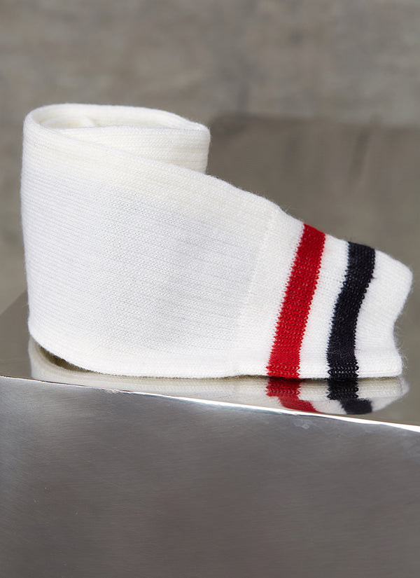 Merino Wool Collegiate Rib Sock in Ivory